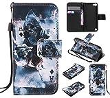 Lomogo Coque iPod Touch 6 / Touch 5, Housse en Cuir Portefeuille avec Porte Carte...