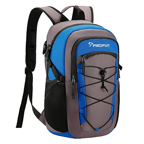 Piscifun Insulated Cooler Backpack, Leakproof Lightweight Cooler Bag, Soft Backpack Cooler for Men and Women Bag Cooler for Lunch, Picnic, Fishing, Hiking, Camping,Park, Day Trip Gray & Blue