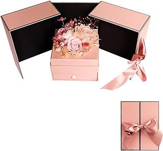 SHUUMEEKAフラワー ボックス ギフト 枯れない花 バラで手作り保存花 プレゼント 誕生日 母の日 先生の日 様々な お祝い 高の贈り物 青 紫 ピンク ブルー