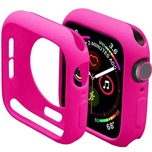 Mimall Funda Compatible con Apple Watch Series SE/6/5/4 44mm, Bumper Case Anticaída para iWatch, Suave Flexible TPU Funda Protectora Slim para Apple Watch Series SE/6/5/4 44mm - Barbie Rosa