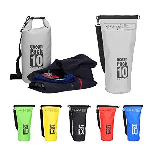 Relaxdays Ocean Pack 10L, wasserdichter Dry Bag, ultraleichter Trockensack für Segeln, Rafting, Skifahren, dunkelgrau