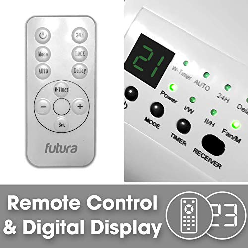 FUTURA 2000W Electric Ceramic PTC Over Door Fan Heater, Cooling Fan Timer & Remote Control, Ideal For Home, Office…