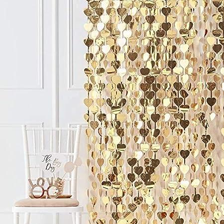 Photo Booth Hintergrund Vorhang Goldene Herzen Backdrop Gold Party Deko Requisite Für Fotobox Küche Haushalt