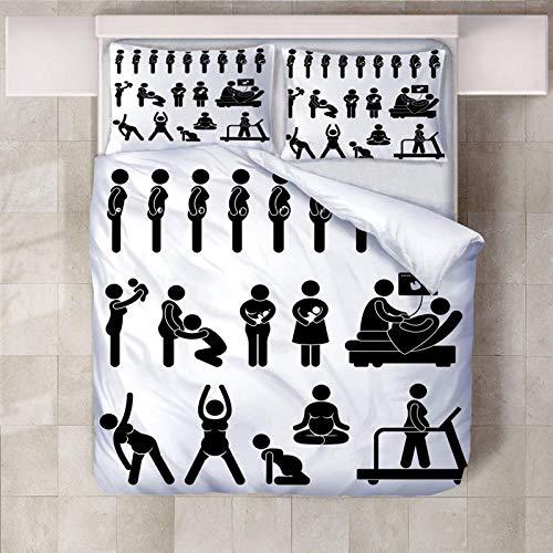 Artezxx Dekbedovertrek, 3D motief, voor de zwangere vrouw met karikatuurprint, 1 dekbedovertrekset en 2 kussenslopen