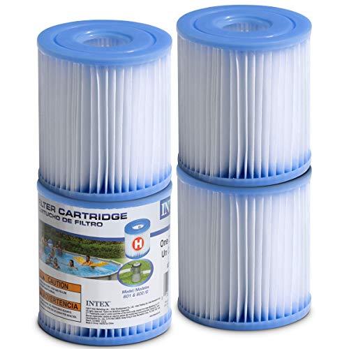 SEWANTA Pool Filter Cartridges - [Set of 4] Intex Cartridge Filter Type H for Intex Pool Filter Pumps - Bundled with (2) Oil Absorbing Sponges.