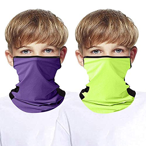 BIZAR 2 Pcs Kids Seamless Bandana Face Mask with Ear Loops, Cooling UV Sun Protection Neck Gaiter Mouth Cover for Boy Girl, Purple+green, Girls