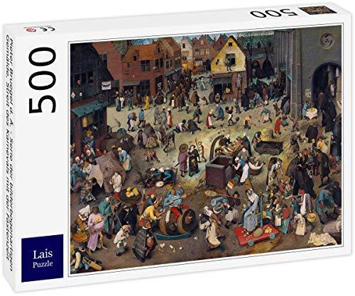 Puzzle Pieter Bruegel el Viejo   Serie de Pinturas en Forma de Arco, Controversia del Carnaval con la Cuaresma 500 Piezas
