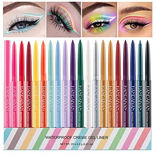 20 Colors Eyeliner Pen Set, Eye Shadow Pencil, Pearl Eyeliner Kit Metallic Eyeliner Pencil Glitter Eyeliner for Women Eye&Lip Liner Professional Waterproof Retractable Eye Makeup Set Colorful Eyeliner Eye Color (20PCS)