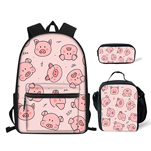 BIGCARJOB Pig Prints Elementary Girls School Bookbag Rucksack for Primary Girls School Backpack Set with Lunch Kits