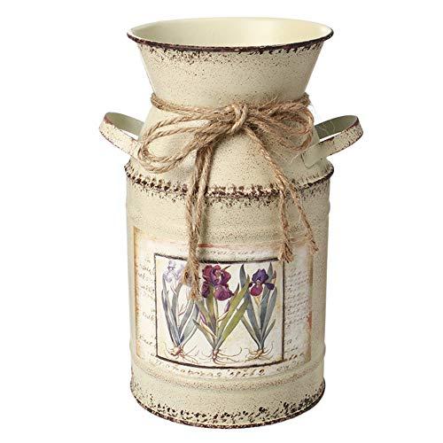 IDoall 19,1 cm hohe rustikale dekorative Vase mit Blumenmuster, Seil Design, Metall Milchkanne Landhaus Krug Wohnzimmer Schlafzimmer Küche beige