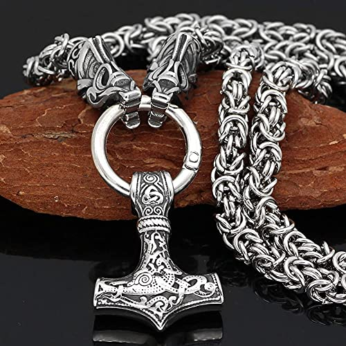 AMOZ Thor Martillo Hombres Fenrir Cabeza de Lobo Nórdico Vikingo Colgante Collar Cadena de Rey,Los...