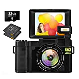 Digital Camera 30.0 MP Vlogging Camera 2.7K Full HD Vlog Camera with 3 Inch Flip Screen and Vlogging Camera for YouTube with 2 Batteries (NO WiFi)