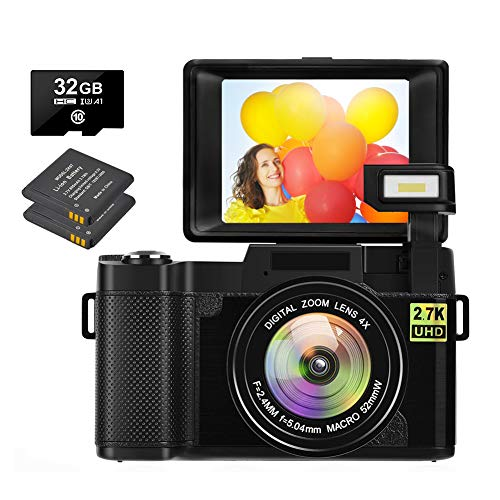 2.7K Camera Digital Camera 30 MP Vlogging Camera Recorder with Retractable Flash Light Vlog Camera for YouTube 3 Inch Flip Screen with a 32GB SD Card...