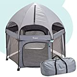 """hiccapop 53"""" PlayPod Outdoor Baby Playpen with Canopy, Deluxe Portable Playpen for Babies and Toddlers with Dome, Sun-shades, Padded Floor   Pop Up Playpen for Beach or Home   Outdoor Playpen for Baby"""
