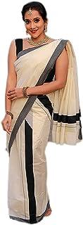 Women's Kasavu Cotton Set Mundu Saree black border Without Blouse Piece