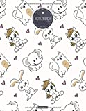 ZMUDACE Notizbuch Liniert: DIN A4 Softcover   'ZB231 Einhorn Katze Elefant Herz'  156 leere Seiten mit persönlichem Register + Seitenzahlen ... Tagebuch, Schulheft, Dickes Notizheft