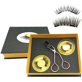 Magnetic Eyelashes Applicator Tool Kit,Glue-free Magnetic Eyelash Clip,Eyelashes Short Set with 2 Pairs Magnetic False Eyelashes,Magnetic Eyelashes No Eyeliner,Natural Look Bushy Look NATURE BUSHY BLEND