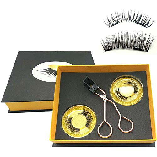 Magnetic Eyelashes Applicator Tool Kit,Glue-free Magnetic Eyelash Clip,Eyelashes Short Set with 2 Pairs Magnetic False Eyelashes,Magnetic Eyelashes No Eyeliner,Natural Look Bushy Look(NATURE BUSHY BLEND)
