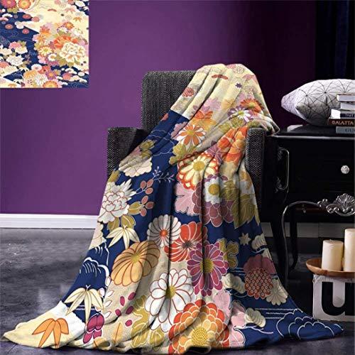 HGTZ Manta de Tiro japonés cálido Motivos Tradicionales de Kimono Composición Ilustraciones Vintage Manta de Microfibra cálida