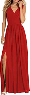 Jonlyc A-Line Sleeveless V-Neck Long Chiffon Bridesmaid Dresses Evening Gowns with Slit
