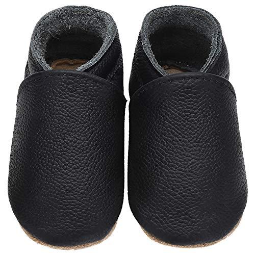 Yavero Kinder Lederschuhe Jungen Weiche Sohle Krabbelschuhe Mädchen Leicht Lauflernschuhe Bequem Babyschuhe, Schwarz 6-12 Monate