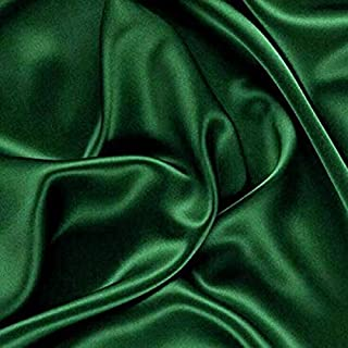 """VDS - 10 Yard Charmeuse Bridal Solid Satin Fabric for Wedding Dress Fashion Crafts Decorations Silky Satin 44"""" inches by The Yard – (Hunter Green)"""