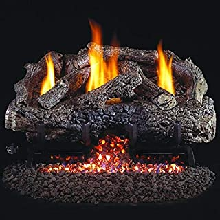 Peterson Real Fyre 18-inch Charred Frontier Oak Log Set With Vent-free Propane Ansi Certified G10 Burner - Variable Flame ...
