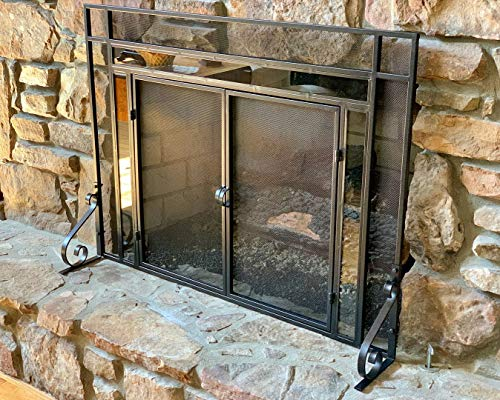 Decorative Fireplace Screen with Glass Accents (Large) Black