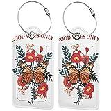 Good Vies Only Custom Leather Luxury Maleta Tag Set Travel Accessories Etiquetas de equipaje Negro Negro 2 PC