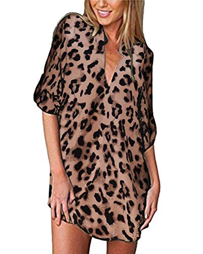 ZANZEA Camicia Donna Vestiti Sexy Stampa Leopardo Camicetta Lunga Elegante Scollo V Manica Lunghe Sciolto Blusa Casual 05-Leopardo Marrone 40 EU