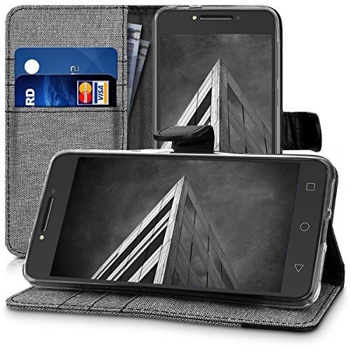 kwmobile Wallet case canvas cover for Alcatel A5 LED - Flip case with card slot and stand in grey black