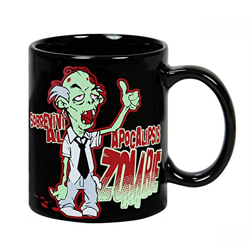 Taza mug desayuno de cerámica negra 32 cl. Modelo Apocalipsis Zombie