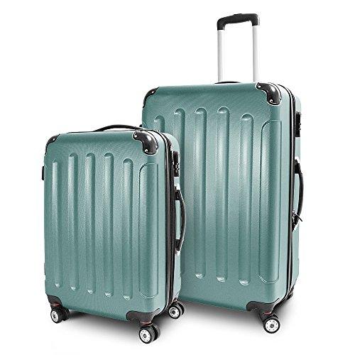 BERWIN Kofferset L + XL 2-teilig Reisekoffer Trolley Hartschalenkoffer ABS Teleskopgriff Modell Stripes (Lime Green)