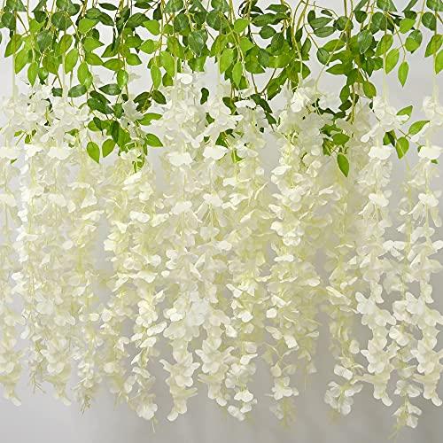 AIBAOBAO fiori artificiali Wisteria 12PCS, ghirlanda di vite di fiori falsi, appeso piante trailing Bush String Flower per matrimonio, festa, casa, giardino, esterno, decorazione interna (bianco)