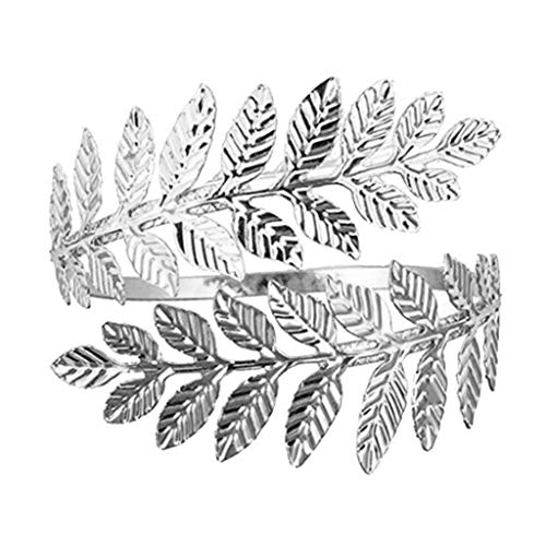 Hellery Blattform Armband Fashion Armreif Schmuck für Erntedankfest-, Valentinstag-, Muttertag-, Weihnacht-, Geburtstagsgeschenk - Silber