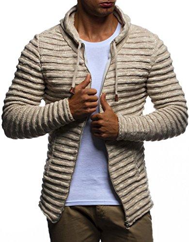 Leif Nelson Herren Hoodie Strickjacke Kapuzenpullover Jacke Hoody Sweatjacke Zipper Sweatshirt Longsleeve LN20724; Größe XL, Beige