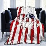 Manta de franela de forro polar de 4 de julio con diseño de calavera de azúcar para todas las estaciones, ligera, para sala de estar, dormitorio, hogar, oficina, 152 x 127 cm