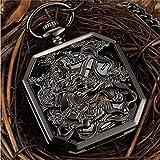 JTWMY Orologio da Taschino Meccanico Quadrato Nero Cinese Kirin Fighting Tigers Simbolo Animale Ciondolo Catena Orologio FOB Clock-Ne
