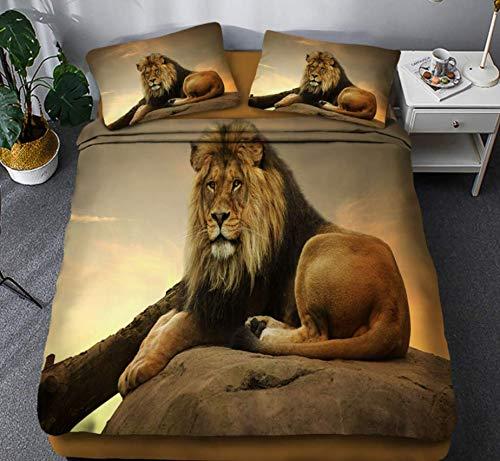 JZZCIDGa Lion DuvetCover3-PieceBedSetBeddingSetPillowcasesDoubleHiddenZipperMicrofiberQuiltCover