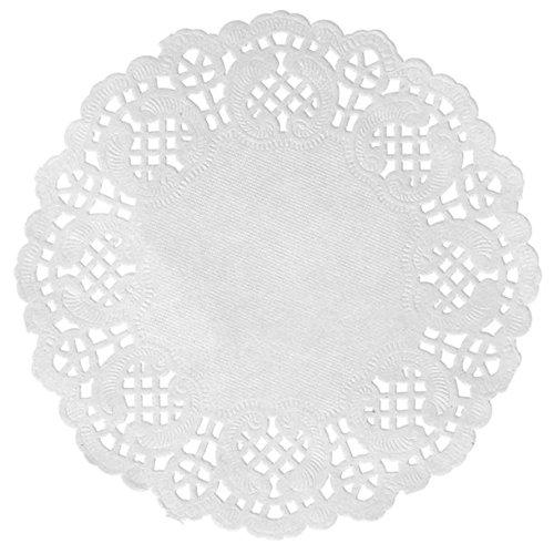 Chal - 10 Sets de table ronds Dentelle blanc