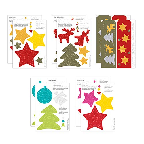 Familienmomente 10 Bastelbogen zum Prickeln Weihnachten (2x 5 Sterne, 2x Baum/Elche, 2x 3 Sterne, 2x Baum/Engel, 2x Weihnachts-Windlichter) DIN A5