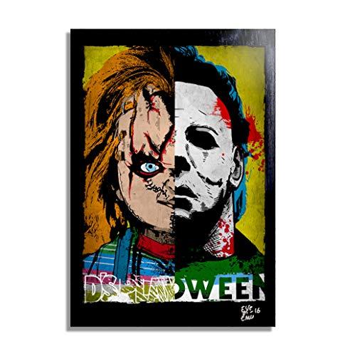 Chucky y Michael Myers - Pintura Enmarcado Original, Imagen Pop-Art, Impresion Poster, Impresion en Lienzo, Cuadro, Comics, Cartel de la Pelicula