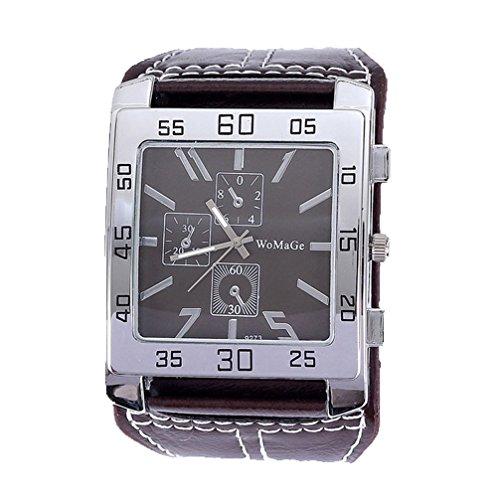 Womage W087 mit drei Augen Dekorative Quadrat-Uhr echtes Leder-Band Unisex-beiläufige Uhr Brown