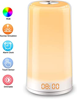 Elfeland Wake Up Light, Sunrise Simulation LED Alarm Clock,Digital Alarm Clock,Touch Control,5 Natural Sounds,Snooze, 256 Color RGB Mode,3 Brightness Bedside Lights for Kids Adults