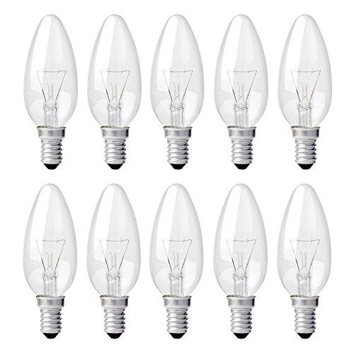 10x Glühbirne Glühlampe E 14 60 WATT klar KERZENFORM Glühbirnen Lampe Birne Birnen
