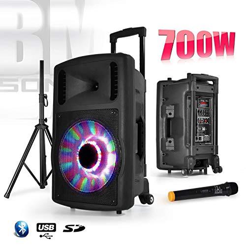 classement un comparer BM SONIC 700W FUZZY12LED – LED RGB + microphone + haut-parleur mobile BT 12 pouces avec support