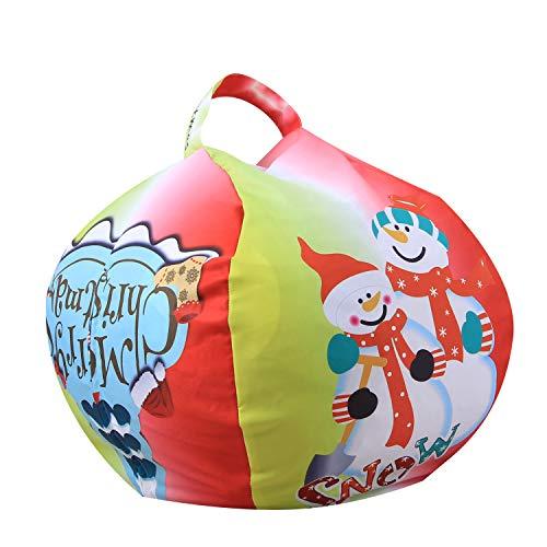FANG Canvas clothing storage bean bag, plush toy storage bag, multi-function organizer bag (Christmas tree),26inch