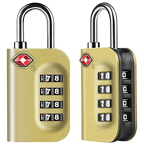 TSA Candado de equipaje, [versión más nueva] [2 paquetes] Candado de seguridad de 4 dígitos, candado combinado, código de bloqueo para maletas de viaje, maleta, etc. negro YXF99 (color: latón)