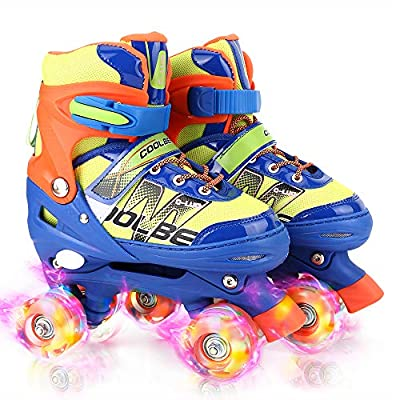 Otw-Cool Adjustable Roller Skates for Boys and Kids, All 8 Wheels of Boy's Skates Shine, Safe and Fun Illuminating for Kids