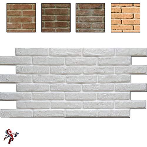 Panel de poliestireno decorativo efecto ladrillo, paquete de 15 unidades (9 m²), color blanco, 118,5 x 56,3 cm, grosor 2,5 cm, panel de poliestireno para exteriores termoaislante para pared